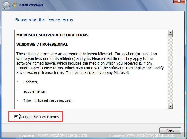 install Windows 7 Setup license