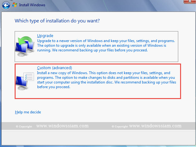 install Windows 7 custom