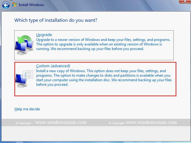 install Windows 7 custom