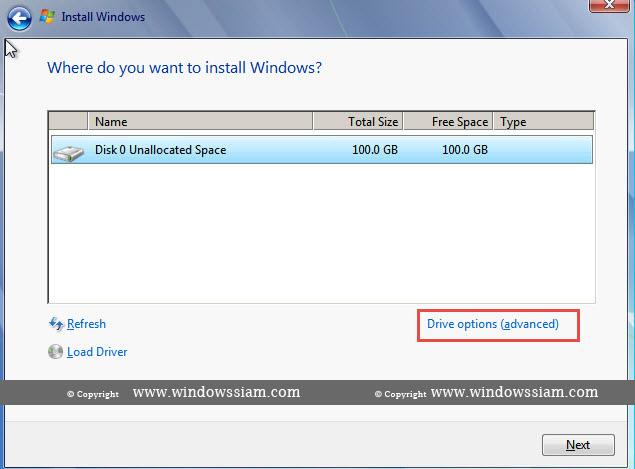 install Windows 7 drive option advance