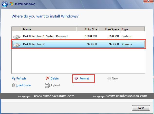 install Windows 7 format disk
