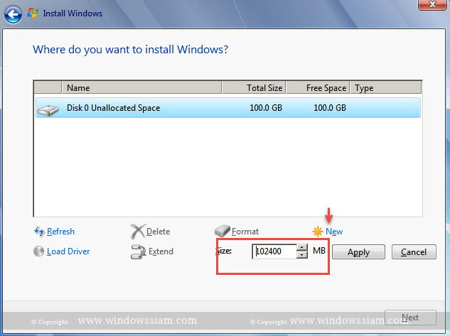 install Windows 7 new disk