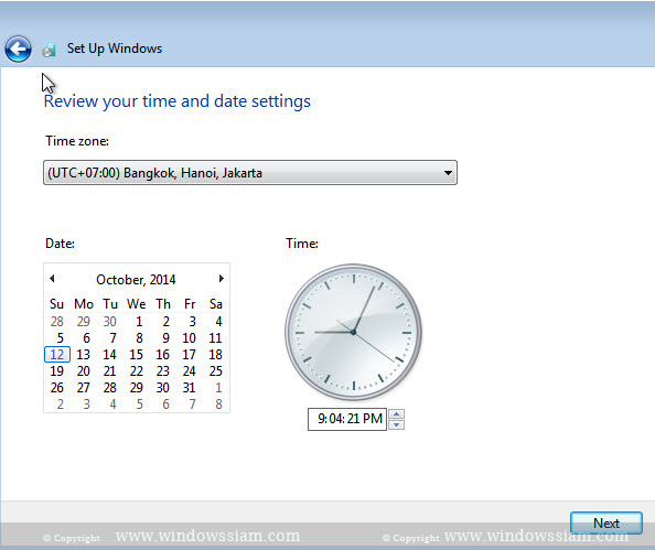 install Windows 7 settime