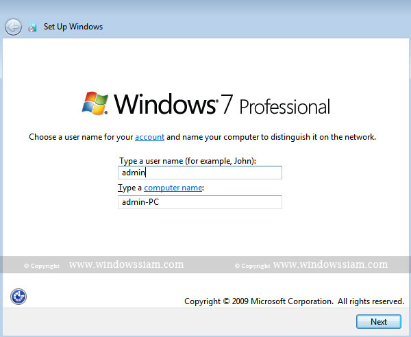 install Windows 7 username