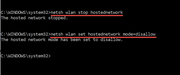 netsh wlan stop hostednetwork