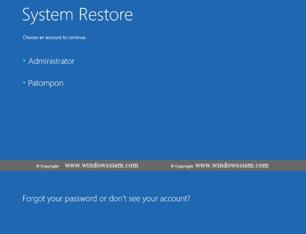 System Restore - Windows 10 choose account