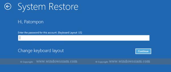 System Restore - Windows 10 choose account Password