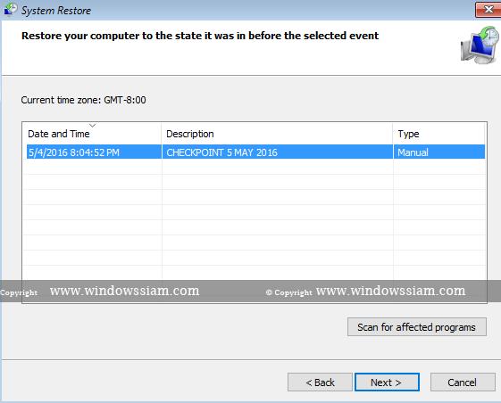 System Restore - Windows 10 step2