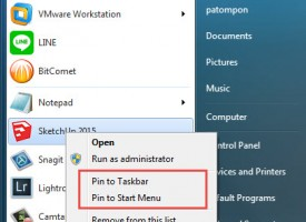 Pin to Start Menu , Pin to taskbar ของ Windows 7