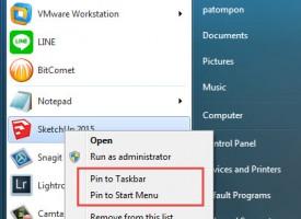 Pin to Start Menu , Pin to taskbar ของ Windows 7