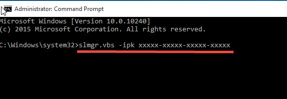 Change-Key-Windows10-command