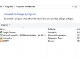 ถอนและลบโปรแกรม Windows 10