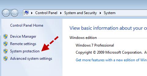 Create a restore point-Windows7-2