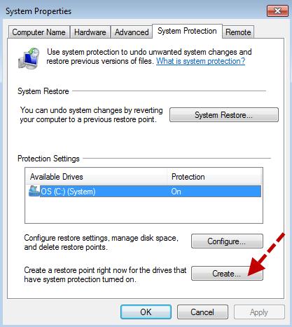 Create a restore point-Windows7-3