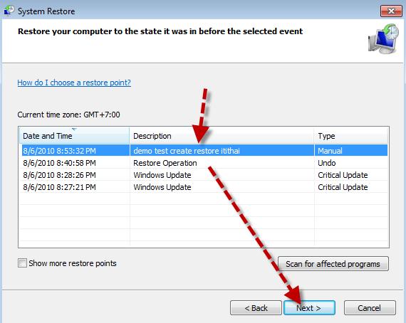 Create a restore point-Windows7-7