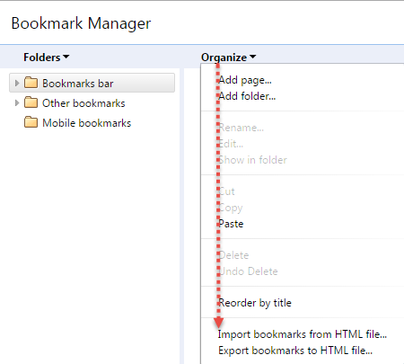 Export and Import Bookmark Chrome