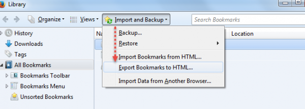 Export and Import Bookmark Firefox2