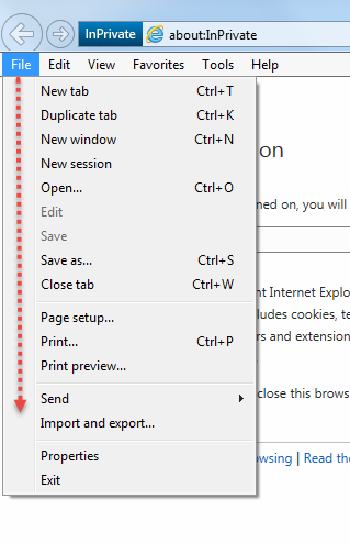 Export and Import Bookmark IE