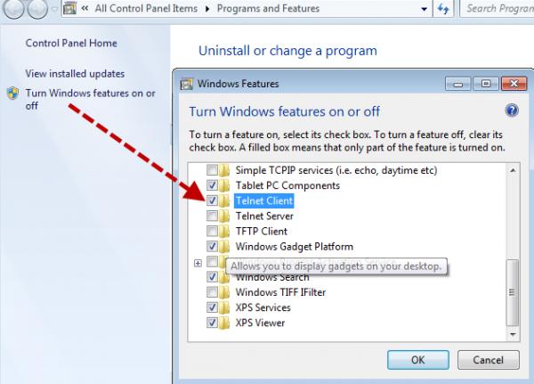 Feature Telnet Windows 7 add role