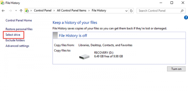 Backup-Restore File History Windows 10 step2
