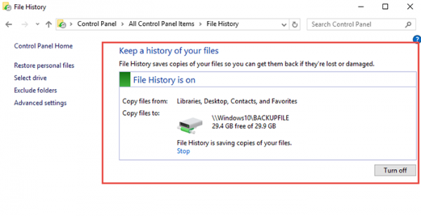 Backup-Restore File History Windows 10 step8
