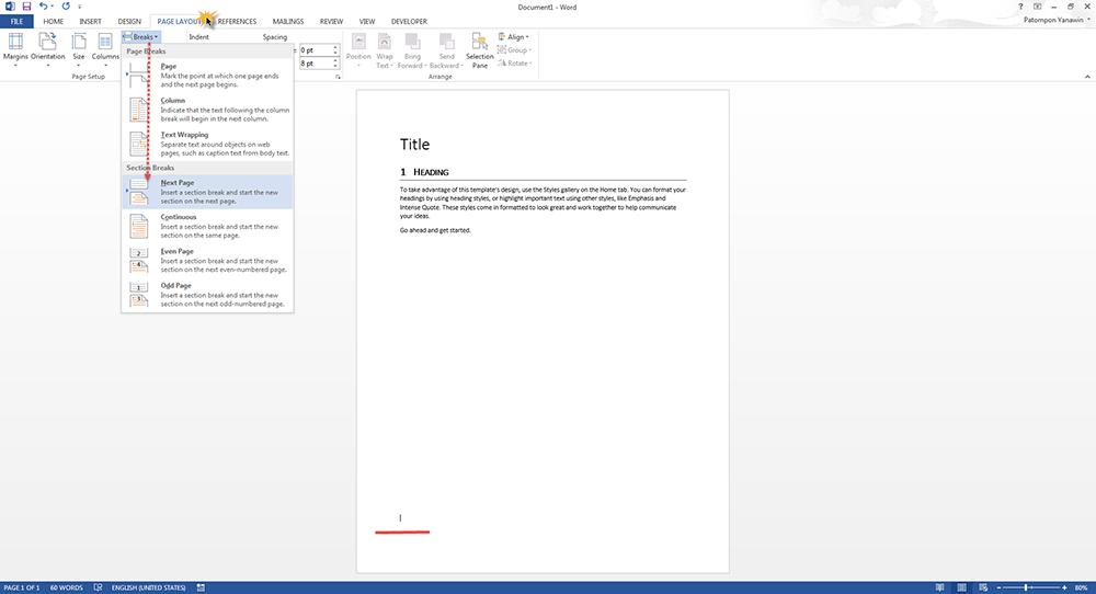 Breaks Page Microsoft Word