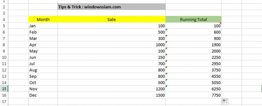 สูตรการรวมยอดขายในแต่ละเดือน Microsoft Excel