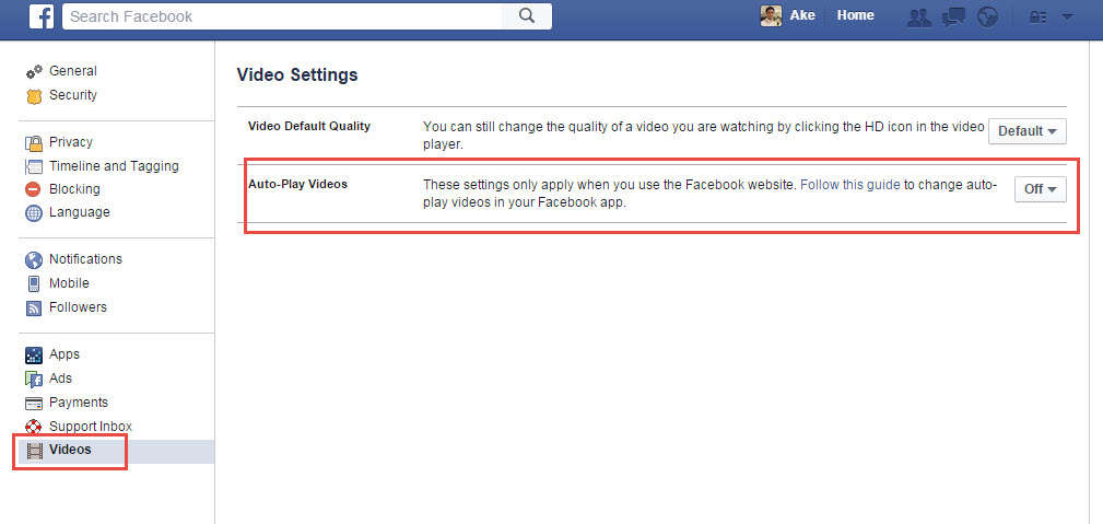 Disable Automatic Play Video Facebook settings