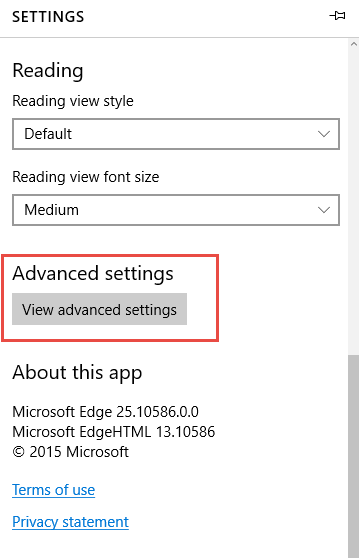 HOME PAGE MICROSOFT EDGE Setting2