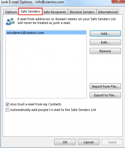 Junk-Email Options Outlook safe Senders