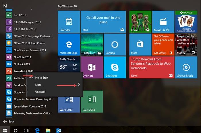 Pin to Start Taskbar Windows 10 Covers