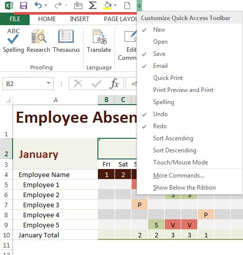 Quick Access Microsoft Excel Menu