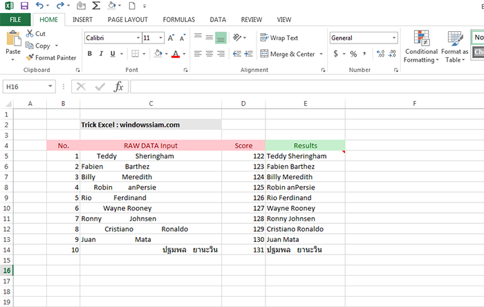 Remove spaces from text Excel Results