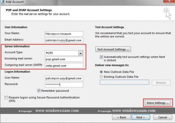 Setting Mail Gmail Microsoft Outlook step4