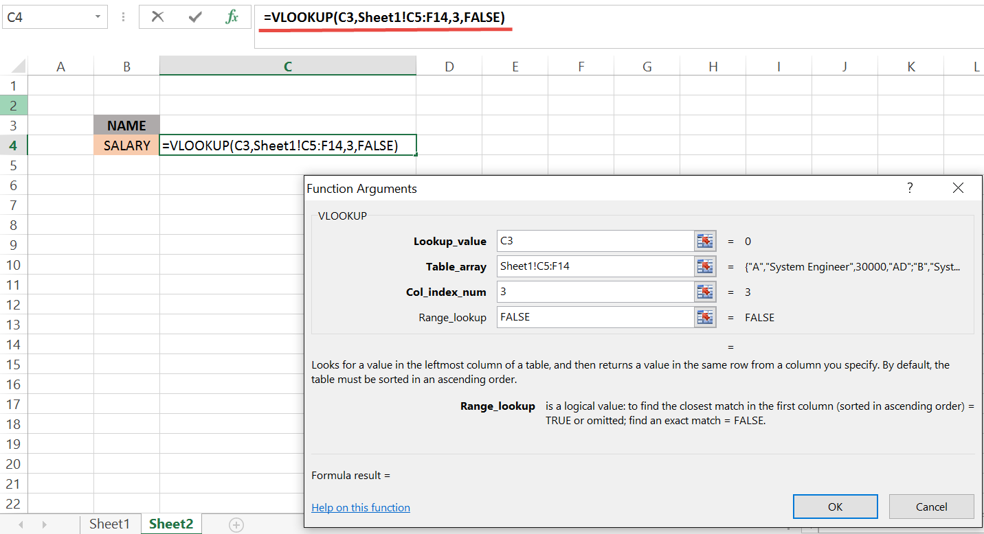 VLOOKUP Excel basic SHEET1