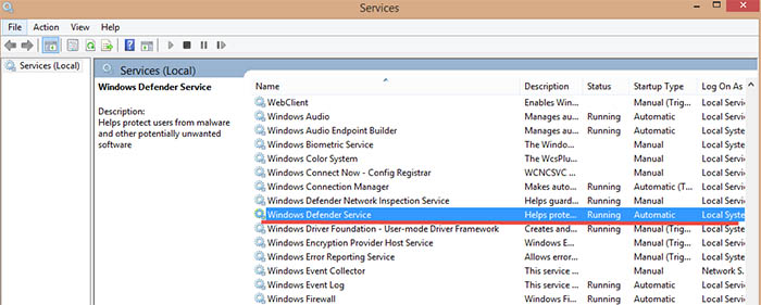 Windows 8.1 Defender Services