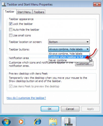 how to change taskbar style in windows 7