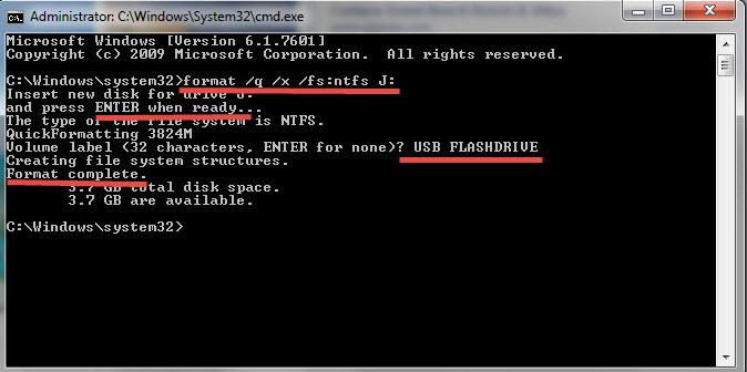 Format USB Command