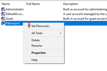 Set user password Windows 10 -2