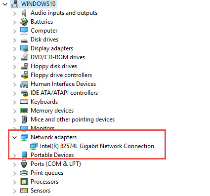 Device manager Windows 10 - LAN