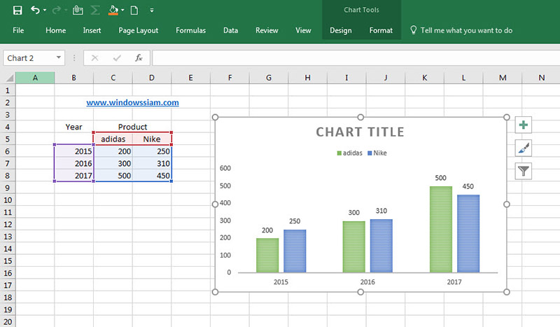 Graph Excel to Word-2016