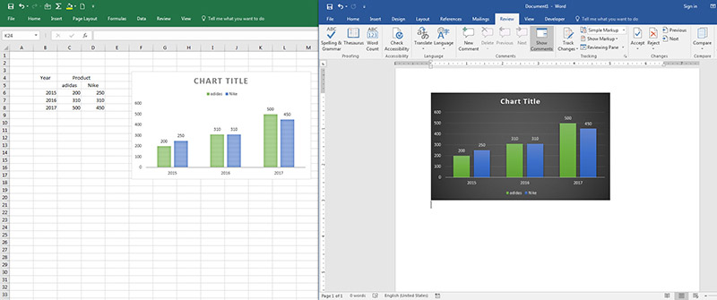 Graph Excel to Word