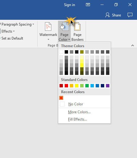 Page Color Microsoft Word 2016 -4