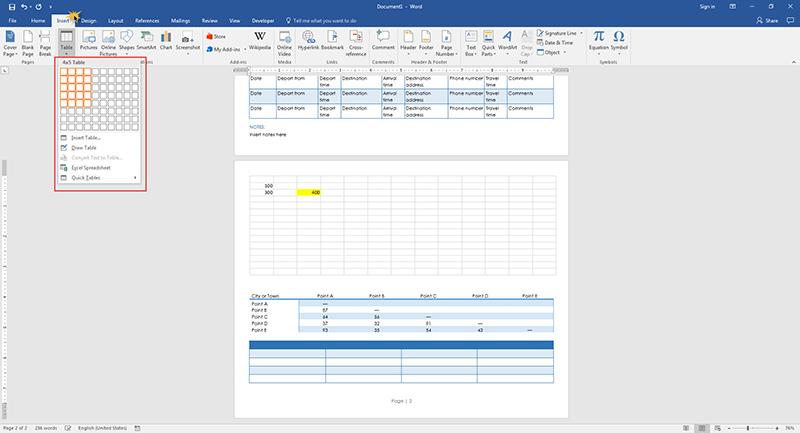 insert table Microsoft Word 2016