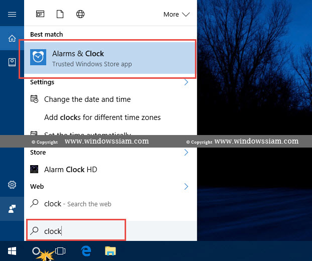 Alarms Clock Windows 10 Search