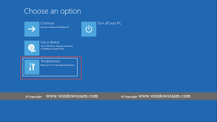 Advance Option Windows 10