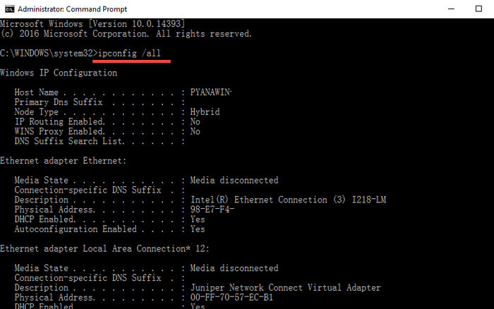 IP Address Windows 10 - cmd2