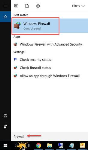 Turn on - off Firewall Windows 10