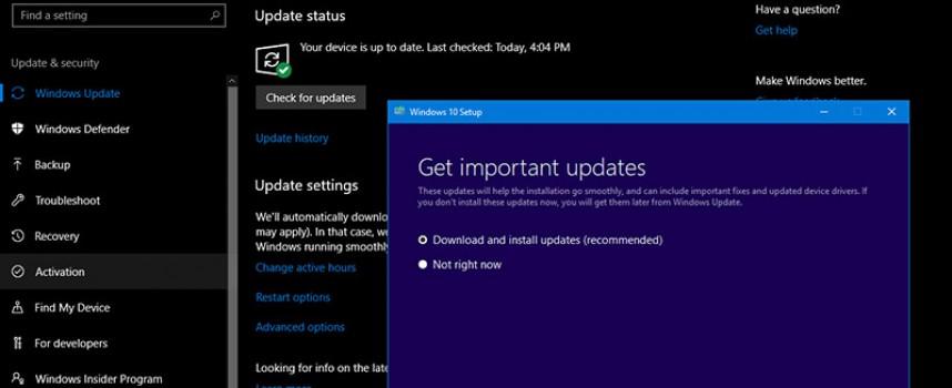 อัพเดท Windows 10 ให้เป็นเวอร์ชั่นใหม่ล่าสุด Windows Version 1809