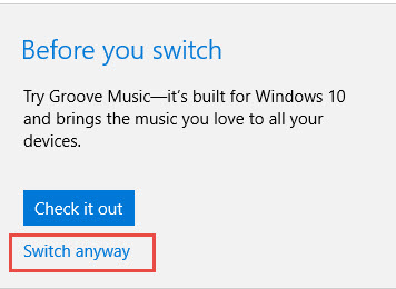 Defaults music player Windows 10-3